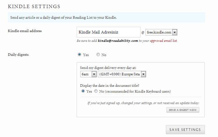 Readability-Kindle-Ayarları