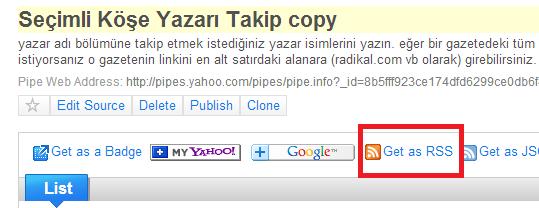 Yahoo pipe rss linki